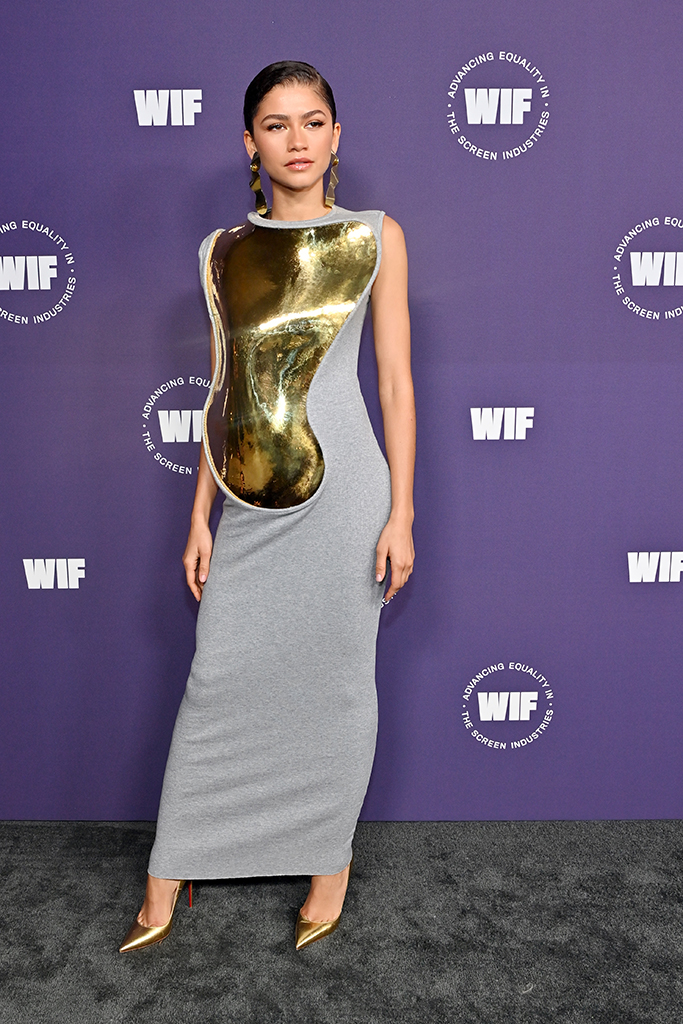 LOS ANGELES, CALIFORNIA - OCTOBER 06: Crystal Award Honoree Zendaya attends the Women in Film Honors: Trailblazers of the New Normal sponsored by Max Mara, ShivHans Pictures, and Lexus at the Academy Museum of Motion Pictures on October 06, 2021 in Los Angeles, California. (Photo by Stefanie Keenan/Getty Images for Women In Film (WIF))